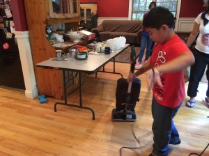Kuya Aaron vacuumed, but everybody helped clean up